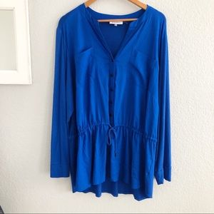 Calvin Klein Blue Button Front Tunic Top